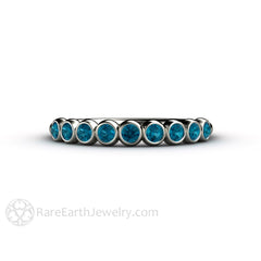 Rare Earth Jewelry Teal Blue Diamond Wedding Ring Bezel Set Anniversary Band