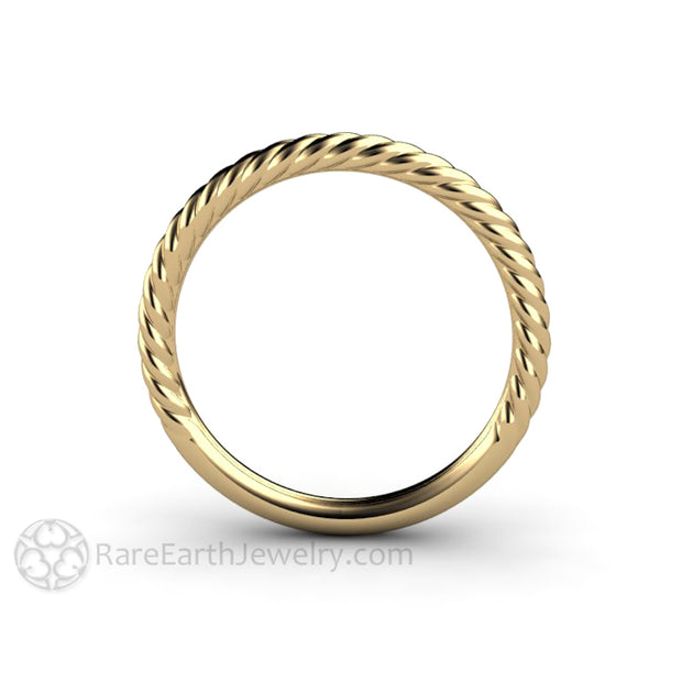 Rare Earth Jewelry Thin Rope Style Band Solid Gold 14K or 18K or Platinum