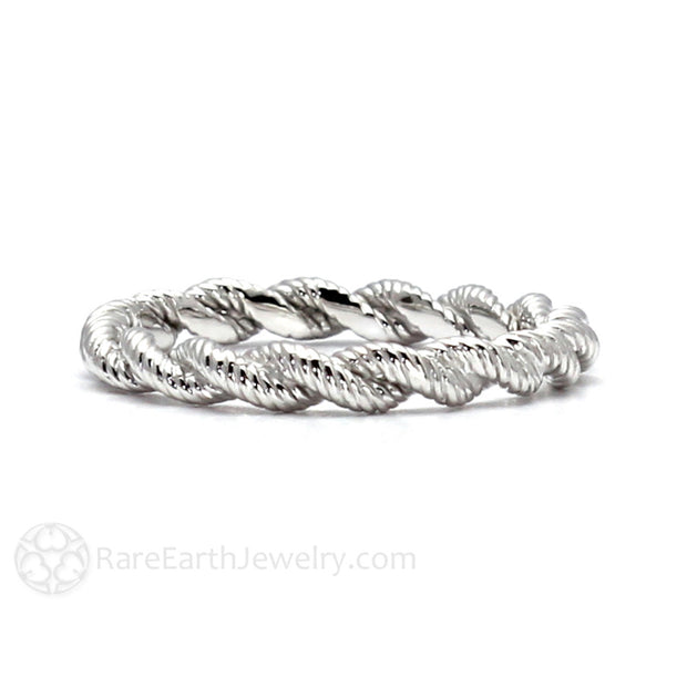 White Gold Anniversary or Wedding Band Twisted Rope Design Rare Earth Jewelry
