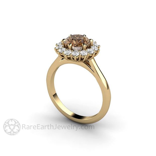 Rare Earth Jewelry Unique Brown Moissanite Wedding Ring Forever One Moissanite Halo Diamond Alternative Conflict Free 14K or 18K