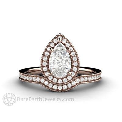 Rare Earth Jewelry Pear Shaped Moissanite Engagement Ring Rose Gold Halo Setting Forever One