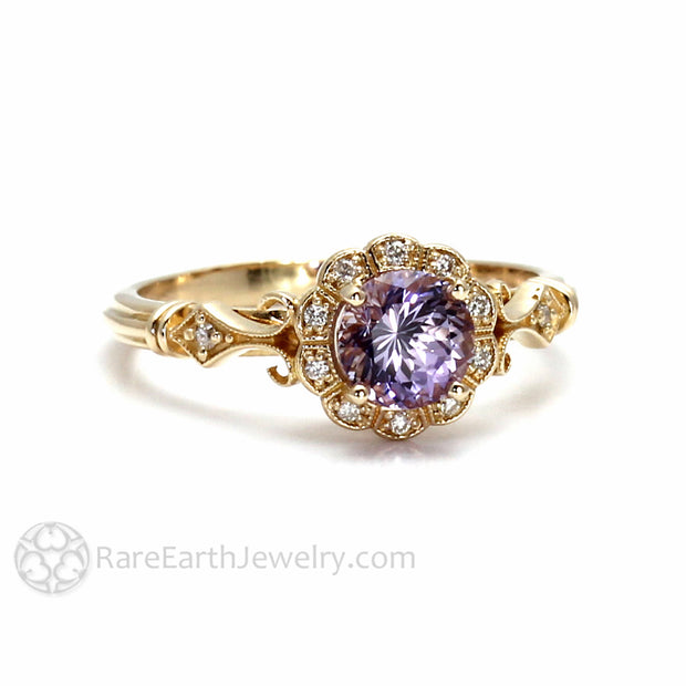 Rare Earth Jewelry Vintage Sapphire Halo Engagement Ring 1ct Lavendar Round Cut Center Stone with Diamond Accent Stones