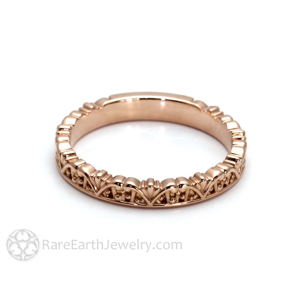 Rare Earth Jewelry Vintage Antique Style Gold Ring Art Deco Crown Filigree Design