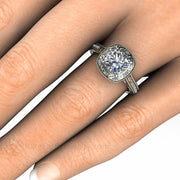 Rare Earth Jewelry 14K Cushion Moissanite Engagement Ring on Finger