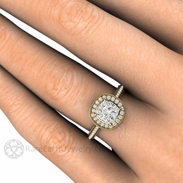 Rare Earth Jewelry Vintage Style Cushion Moissanite Right Hand Ring on Finger 14K Yellow Gold Halo Filigree Setting