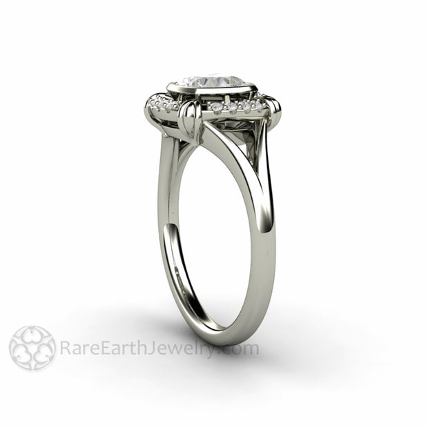 Rare Earth Jewelry Vintage Bezel Halo Wedding Ring 6mm Cushion Moissanite