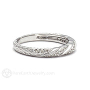 Rare Earth Jewelry Vintage Diamond Wedding Ring Rope Gold Twist Design with Diamonds