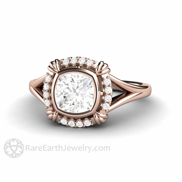 Rare Earth Jewelry Forever One Moissanite Wedding Ring 18K Rose Gold Diamond Halo Art Deco Style