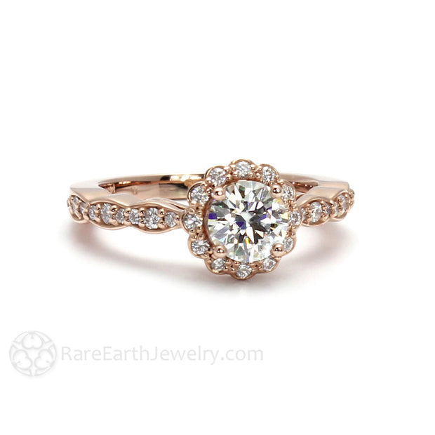 Rare Earth Jewelry 18K Rose Gold Forever One Moissanite Wedding Ring Diamond Accented Halo and Band