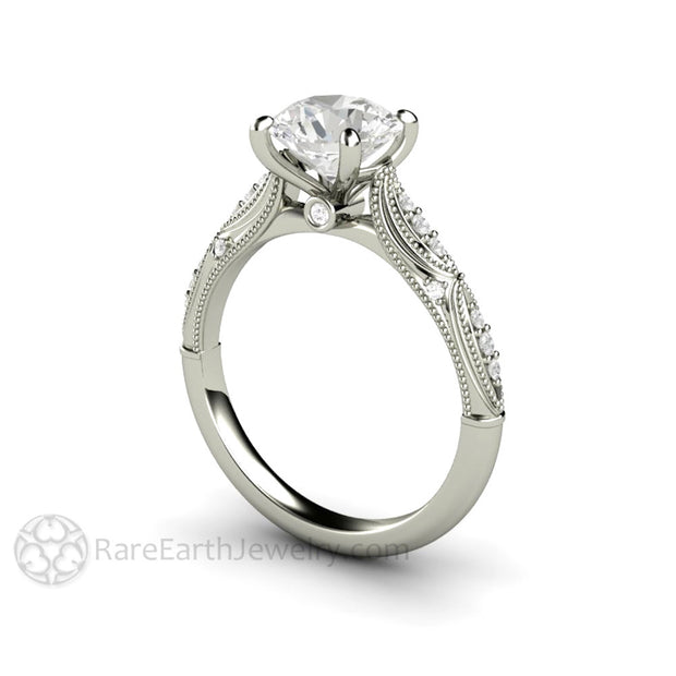 Rare Earth Jewelry Moissanite Bridal Ring 14K White Gold Vintage Inspired Setting 4 Prong with Filigree and Milgrain