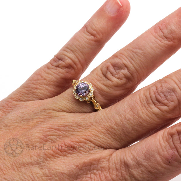 Rare Earth Jewelry Vintage Purple Sapphire Halo Right Hand Ring on Finger 14K or 18K Gold Filigree Milgrain Antique Design