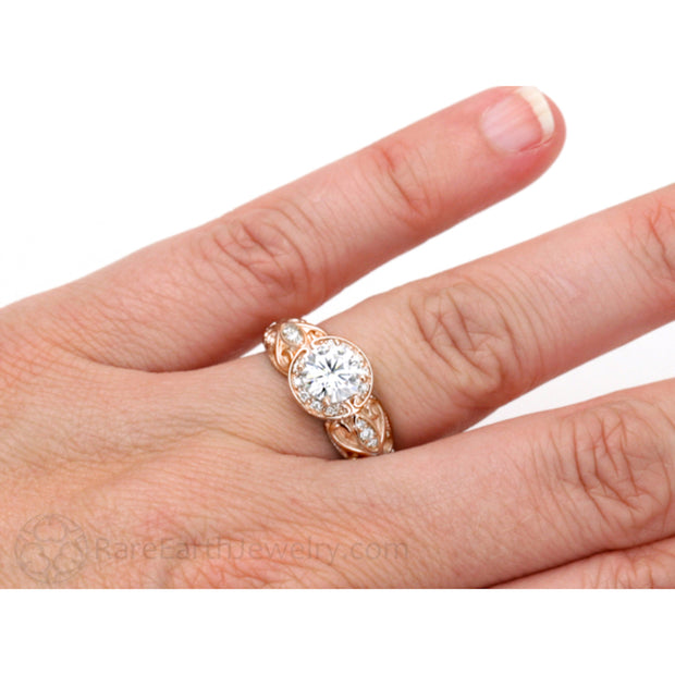 Rare Earth Jewelry Vintage Moissanite Right Hand Ring on Finger Rose Gold Halo Setting