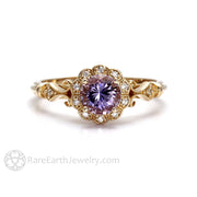 Rare Earth Jewelry Vintage Sapphire Engagement Ring Round Cut 1ct Lavender Gemstone with Natural Diamond Accents