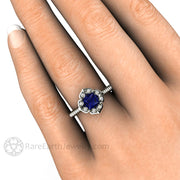 Vintage Sapphire Engagement Ring on Finger Princess Cut Blue Sapphire and Diamond Ring by Rare Earth Jewelry