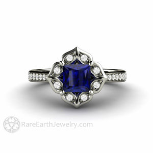 Vintage Style Blue Sapphire Engagement Ring Princess Cut Halo 14K White Gold by Rare Earth Jewelry