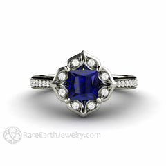 Rare Earth Jewelry Vintage Style Blue Sapphire Engagement Ring Princess Cut Halo 14K White