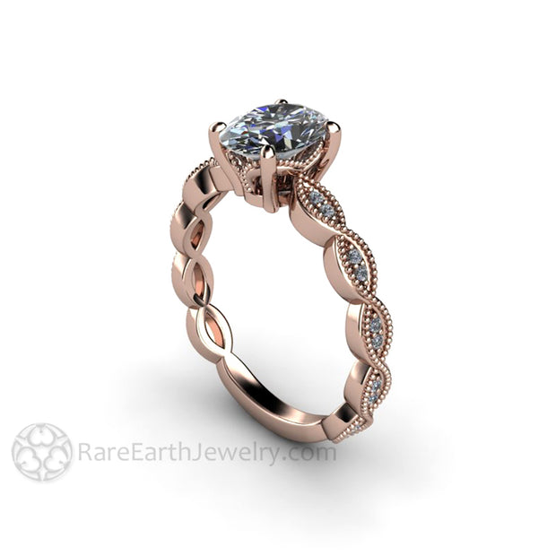 Rare Earth Jewelry Vintage Style Diamond Anniversary Ring with Scalloped Milgrain Details 1ct GIA Center Stone 14K Rose