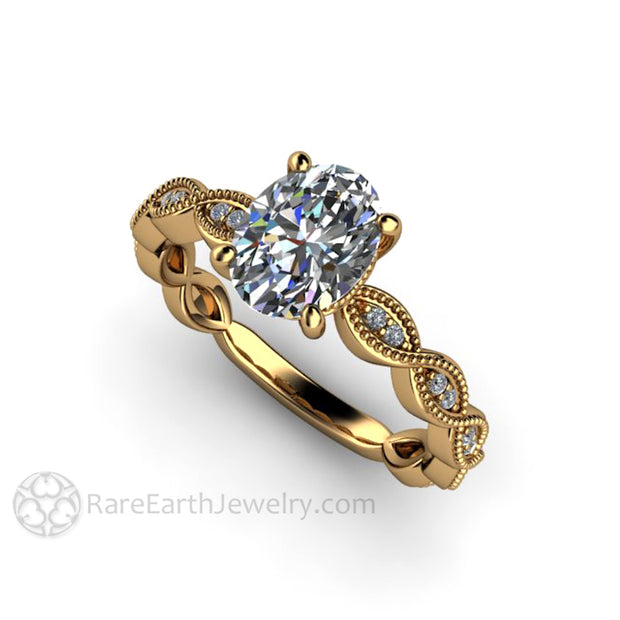 Rare Earth Jewelry Vintage Style Diamond Engagement Ring 1 Carat Oval Cut 18K Gold Setting Milgrain Infinity Design