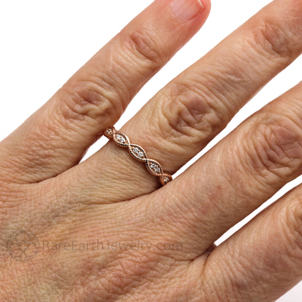 Rare Earth Jewelry Vintage Rose Gold Diamond Wedding Ring on Hand Scalloped with Milgrain Edge