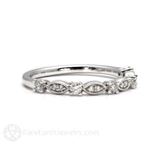 Rare Earth Jewelry Vintage Style Diamond Wedding Ring with Milgrain Details 14K