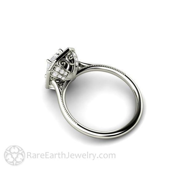 Rare Earth Jewelry Vintage Style Moissanite Engagement Ring 14K White Emerald Halo