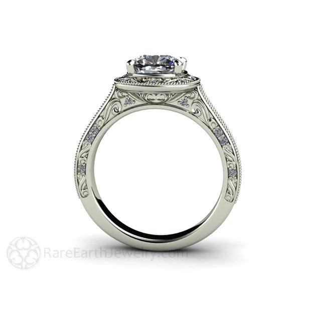 Rare Earth Jewelry Art Deco Cushion Moissanite Halo Wedding Ring Conflict Free Alternative
