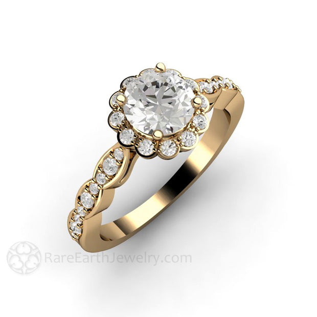 Rare Earth Jewelry Forever One Moissanite Engagement Ring Round Cut Diamond Halo 14K