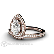 Rare Earth Jewelry Pear Halo Moissanite Wedding Ring 1ct Forever One with Diamonds 14K Rose