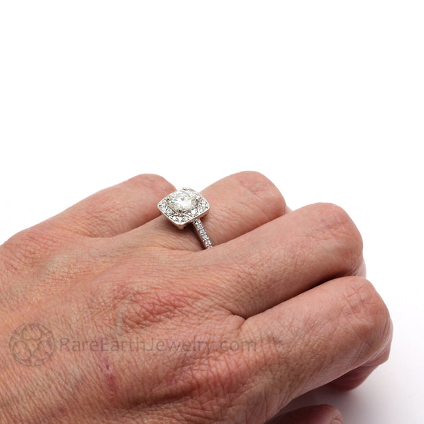 Rare Earth Jewelry 1ct Moissanite Engagement Ring on Finger Diamond Halo Vintage Style Setting 14K White Gold