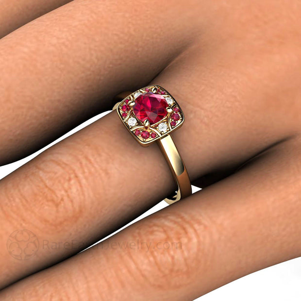 Rare Earth Jewelry Vintage Style Ruby Ring on Finger Round Cut Diamond Accents Natural Gemstones