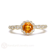 Rare Earth Jewelry Orange Sapphire Ring Vintage Style Halo