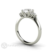 Rare Earth Jewelry Vintage Style Oval Cut Moissanite Wedding Ring Diamond Accented Cluster White Gold