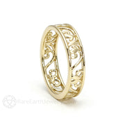 Rare Earth Jewelry Vintage Style Wedding Ring 14K Gold Scroll Design