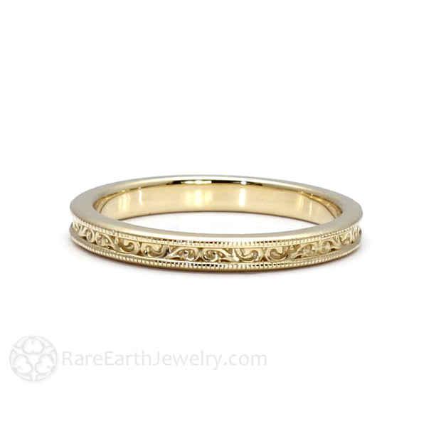 Rare Earth Jewelry Vintage Style Wedding Ring Milgrain Filigree Details Solid Gold 14K or 18K