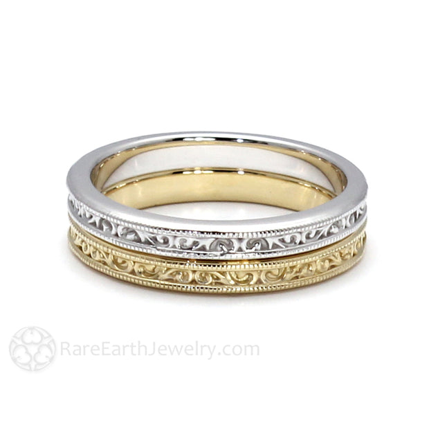 Rare Earth Jewelry Vintage Style Wedding Ring Stacking Anniversary Band or Right Hand