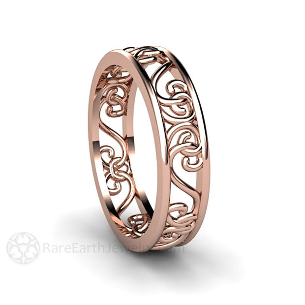 Rare Earth Jewelry Filigree Ring 14K Rose Gold Stackable Stacking Band