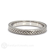 Vintage Art Deco Style Wedding Ring 3MM Milgrain Band Gold or Platinum Rare Earth Jewelry