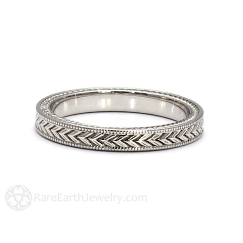 Chevron Pattern Milgrain Wedding Band 3mm Vintage Style
