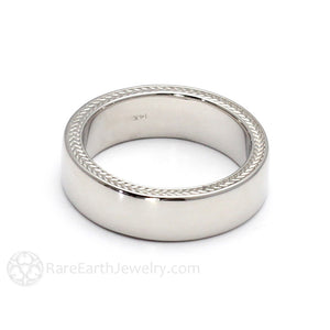 Rare Earth Jewelry Wheat Pattern Wedding Ring Woven Chevron Design 6mm