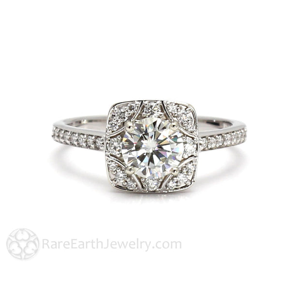 Rare Earth Jewelry 1ct Moissanite Ring Round Forever One with Diamond Halo Vintage Style Art Deco 14K White Gold