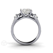 Rare Earth Jewelry Moissanite Engagement Ring Oval Cut 3 Stone