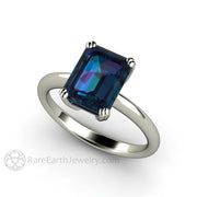 Rare Earth Jewelry White Gold Emerald Cut Alexandrite Solitaire Bridal Ring
