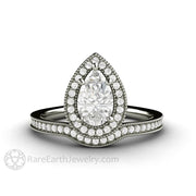 Rare Earth Jewelry White Gold Moissanite Engagement Ring 1 Carat Pear Forever One with Diamonds