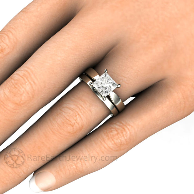 Rare Earth Jewelry White Gold Moissanite Wedding Set 1.5ct Princess Cut Engagement Ring with Classic Gold Bridal Band