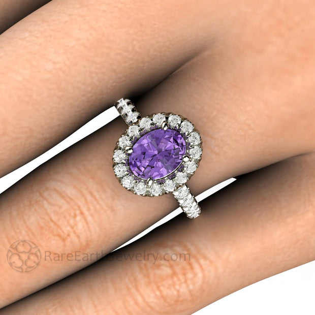 Rare Earth Jewelry White Gold Purple Oval Sapphire Ring with Diamonds on Finger
