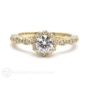 Rare Earth Jewelry Moissanite Halo Ring Vintage Design 6mm Round Cut 14K Yellow Gold
