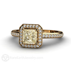 Rare Earth Jewelry Light Yellow Sapphire Engagement Ring Princess Diamond Halo