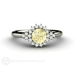 Rare Earth Jewelry Yellow Sapphire Halo Ring 14K White Gold