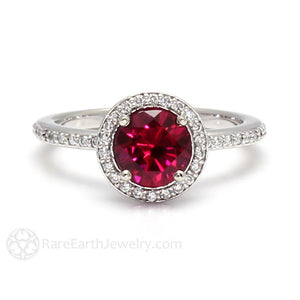 Rare Earth Jewelry Ruby Wedding Ring Diamond Halo 14K Gold