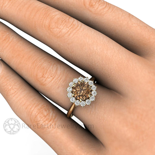 Rare Earth Jewelry Brown Moissy Halo Right Hand Ring on Finger Rose Gold 6 Prong Setting